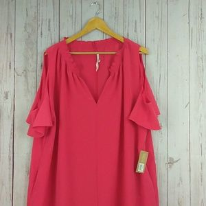 Rachel Roy cold shoulder coral dress sz 2X